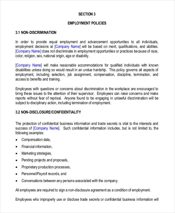 Small Business Employee Handbook Template
