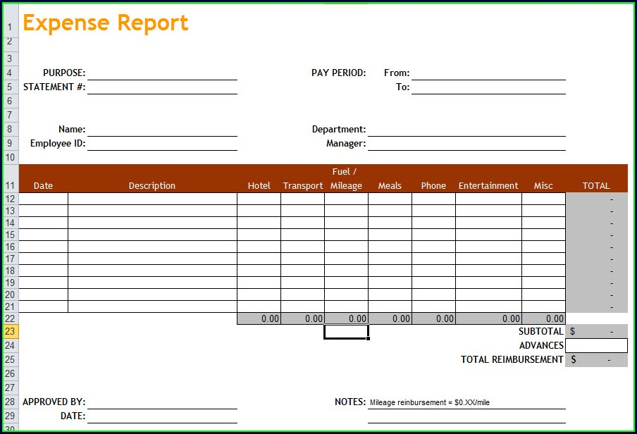 Spreadsheet Expense Report Template Free