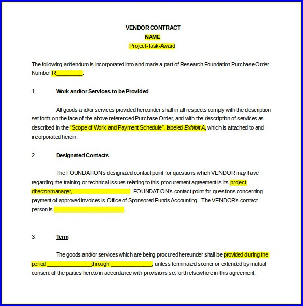 Supplier Contract Supply Agreement Template Free