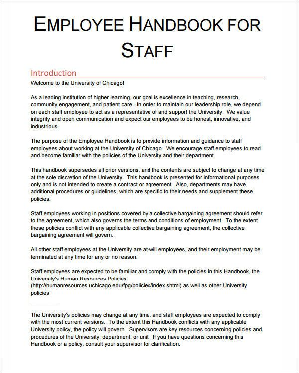 Template Employee Handbook Sample