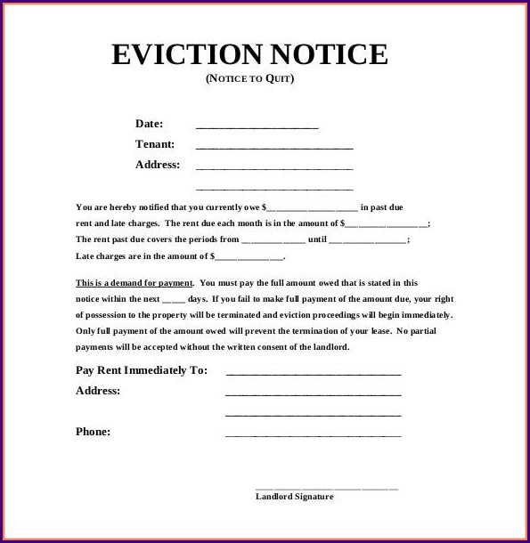 Template Eviction Notice Form