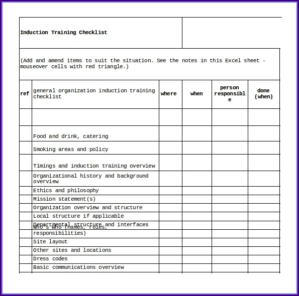Training Checklist Template Excel Free