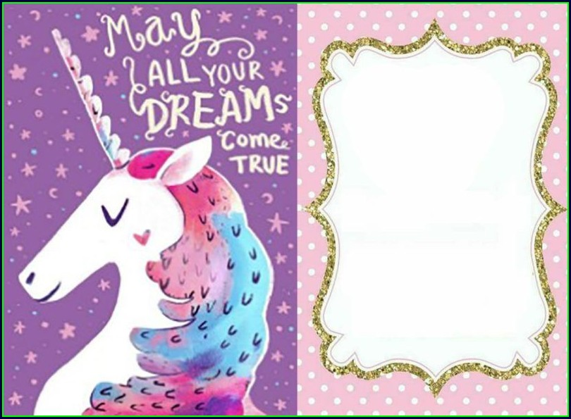 Unicorn Birthday Card Template Free