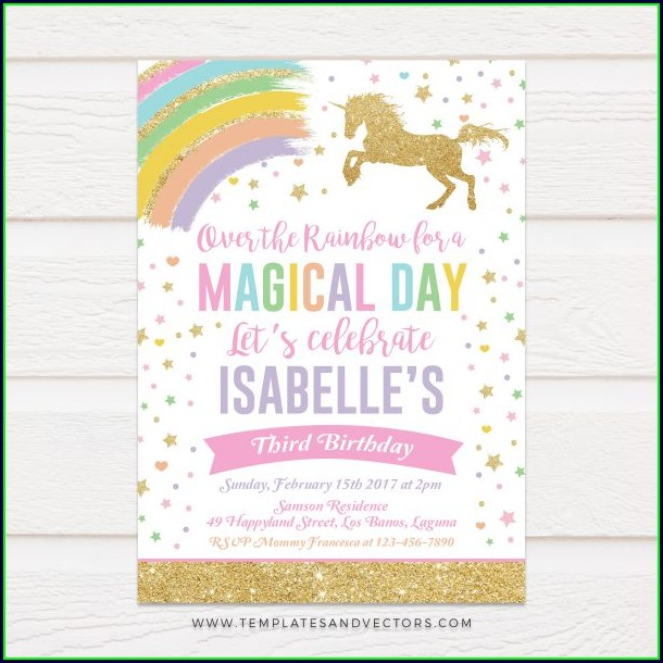 Unicorn Birthday Card Template