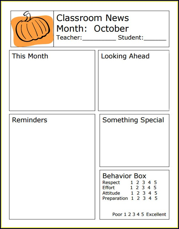 Weekly Classroom Newsletter Template Free