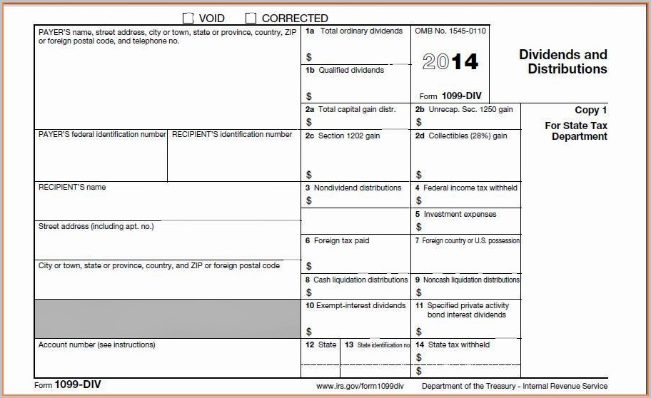 1099 Form Template 2016