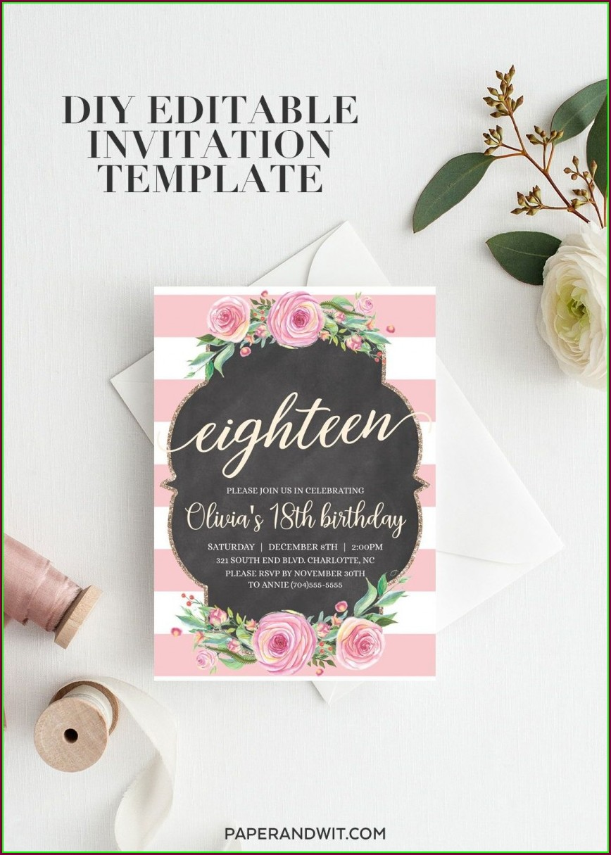 18th Birthday Invitation Template