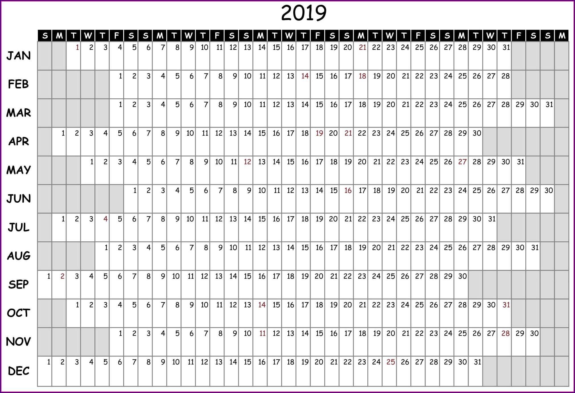 2019 Employee Attendance Calendar Template