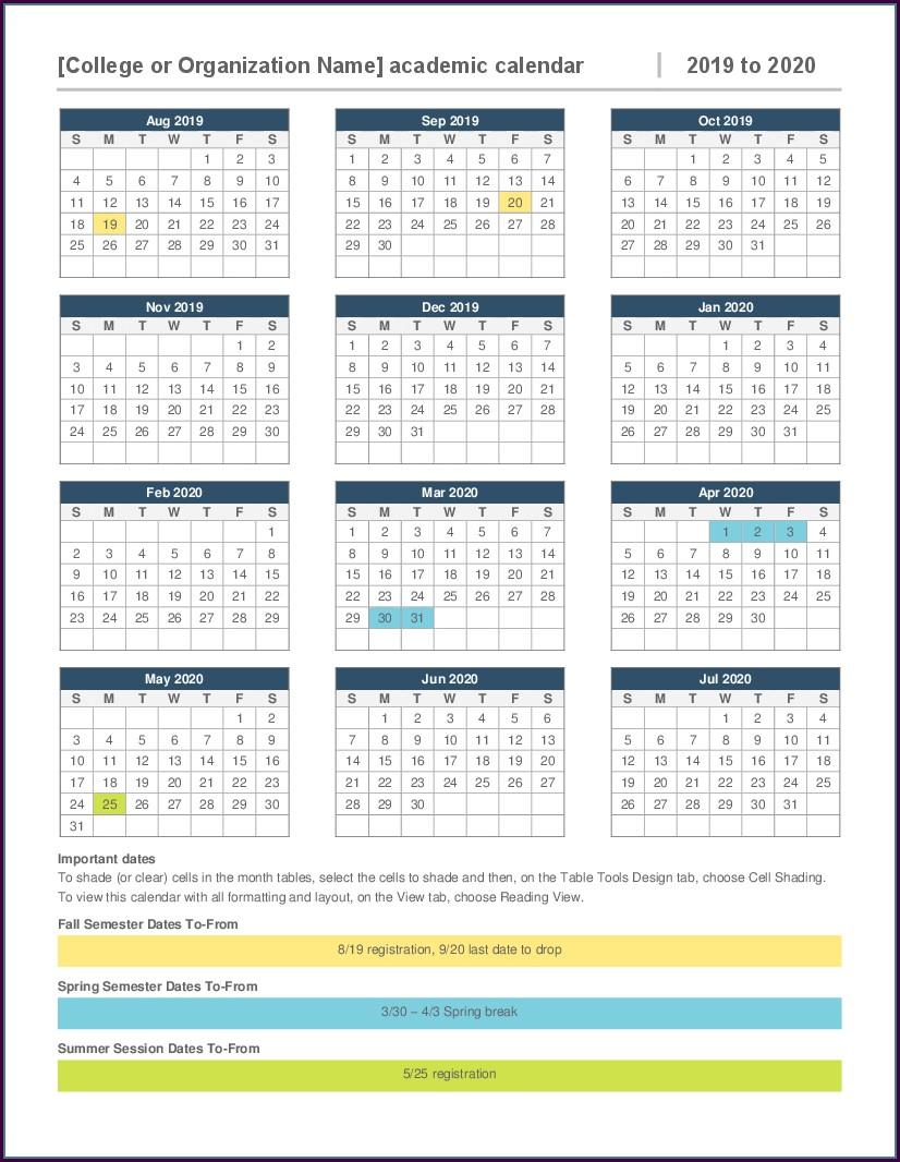 2020 Employee Attendance Calendar Template