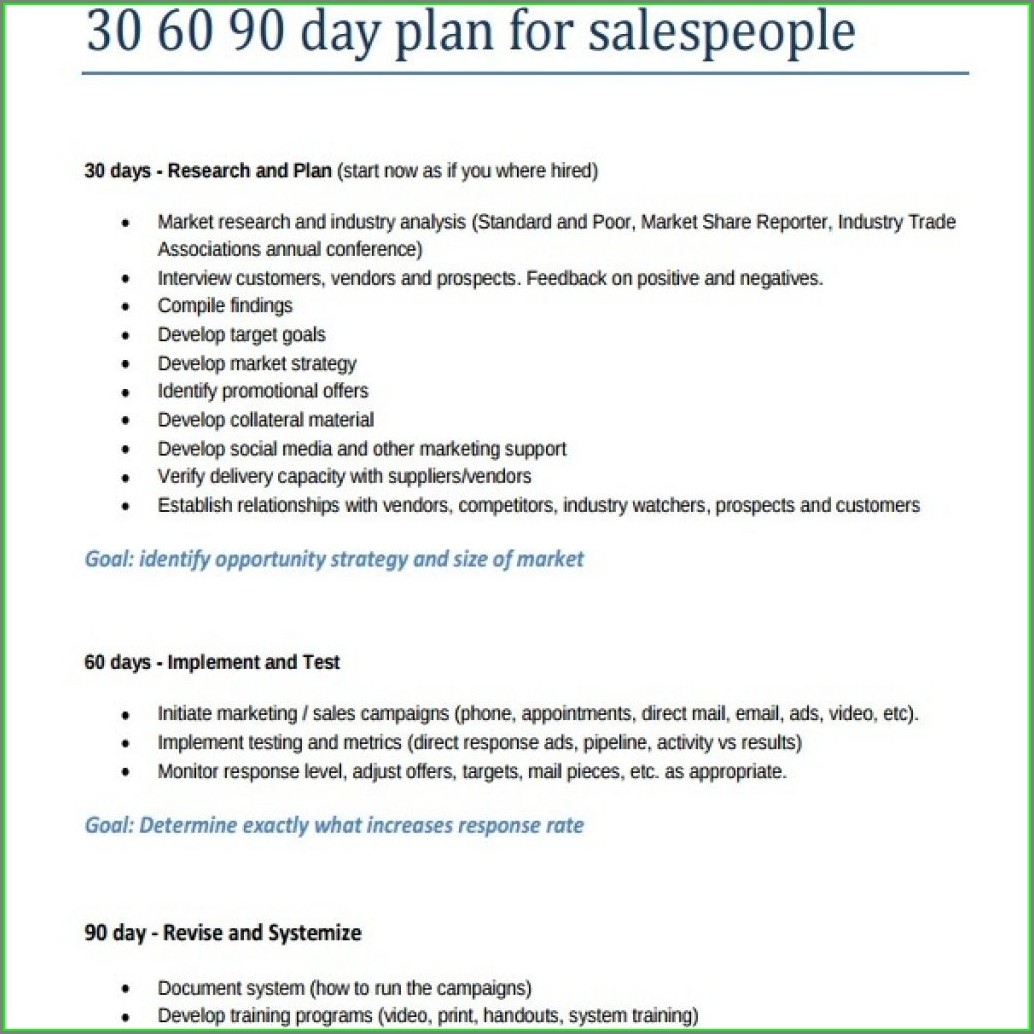 30 60 90 Sales Plan Template Free