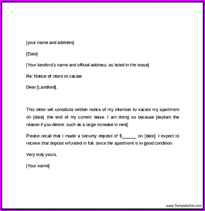 30 Day Written Notice To Vacate Template