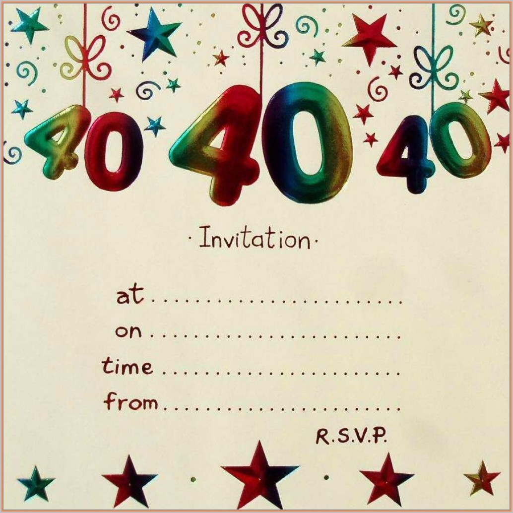 40th Birthday Invitation Templates Blank