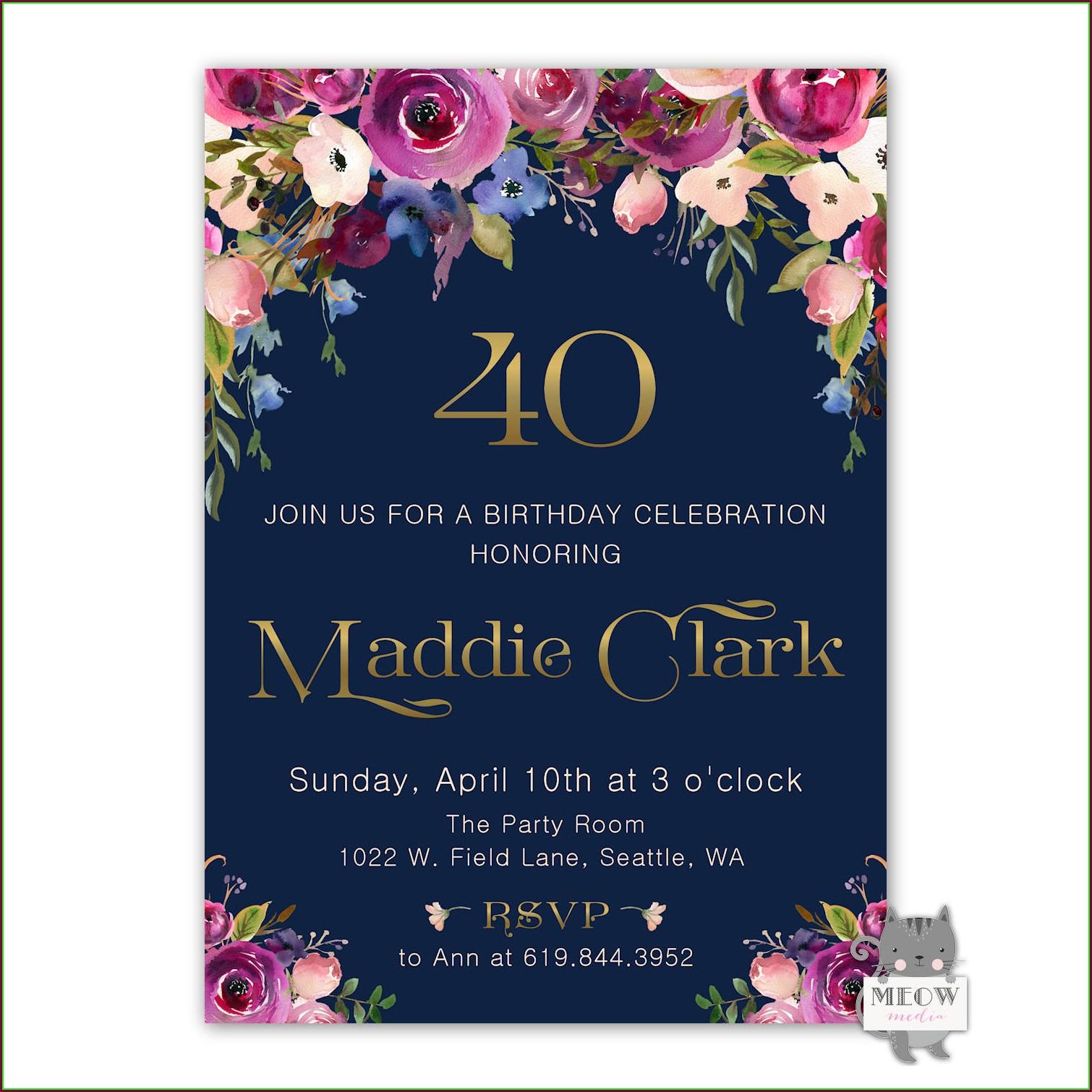 40th Birthday Invite Templates Free