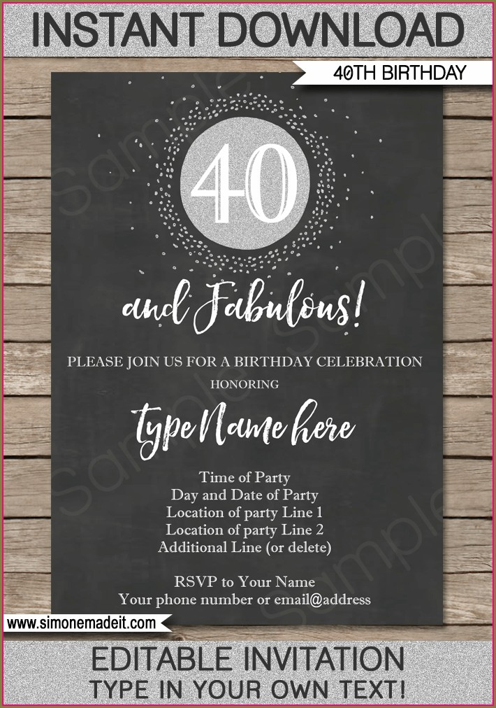40th Birthday Invites Free Templates