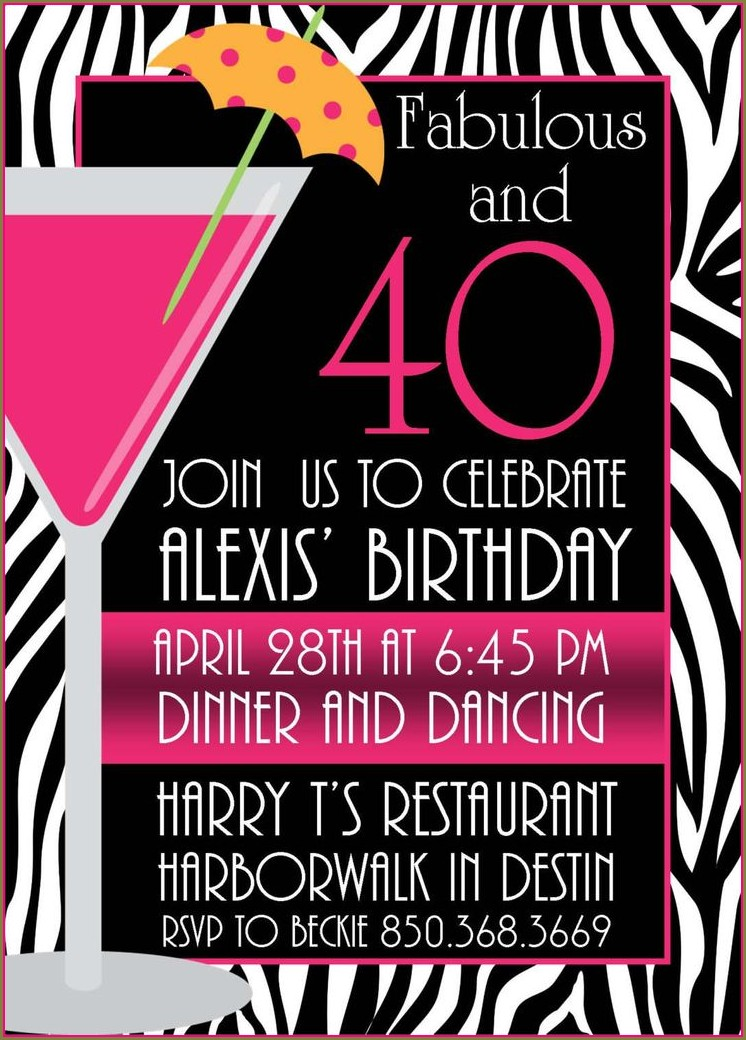 40th Birthday Party Invites Free Templates