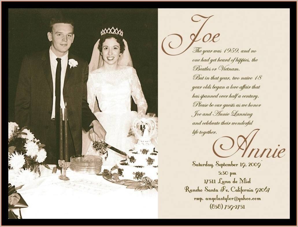 50th Wedding Anniversary Invitations Templates