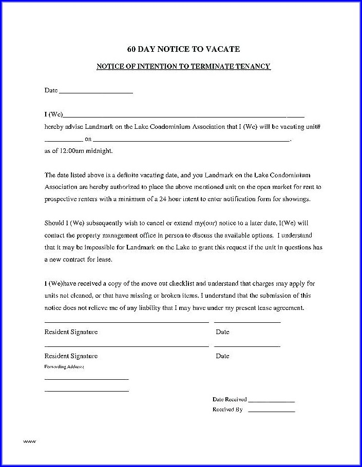 60 Day Notice To Vacate California Template Free