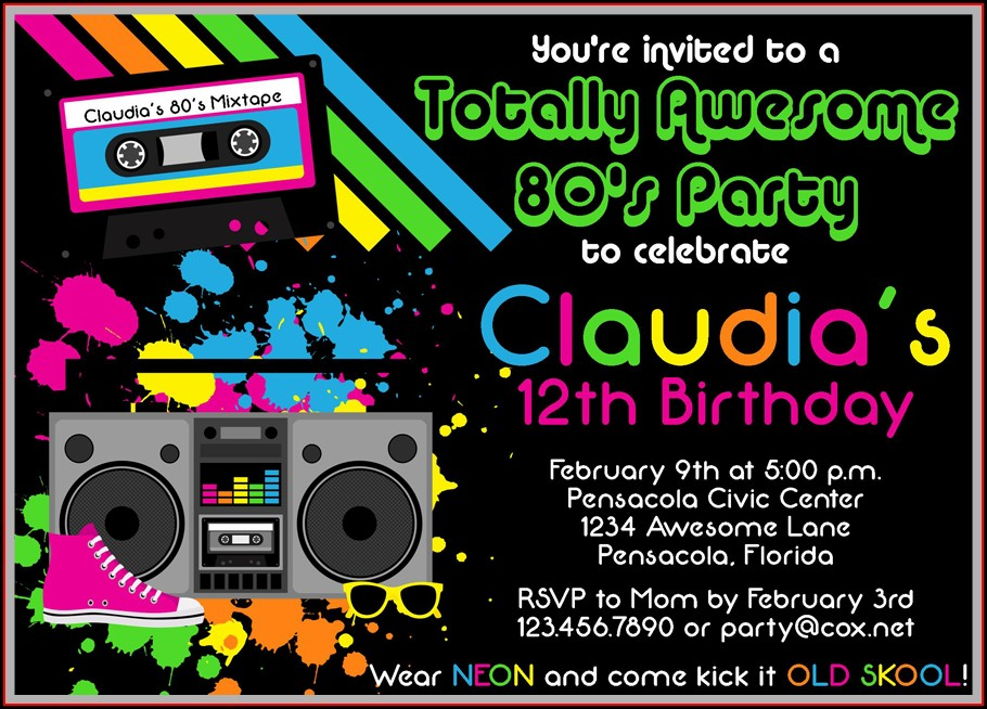 80s Party Invitation Template Free