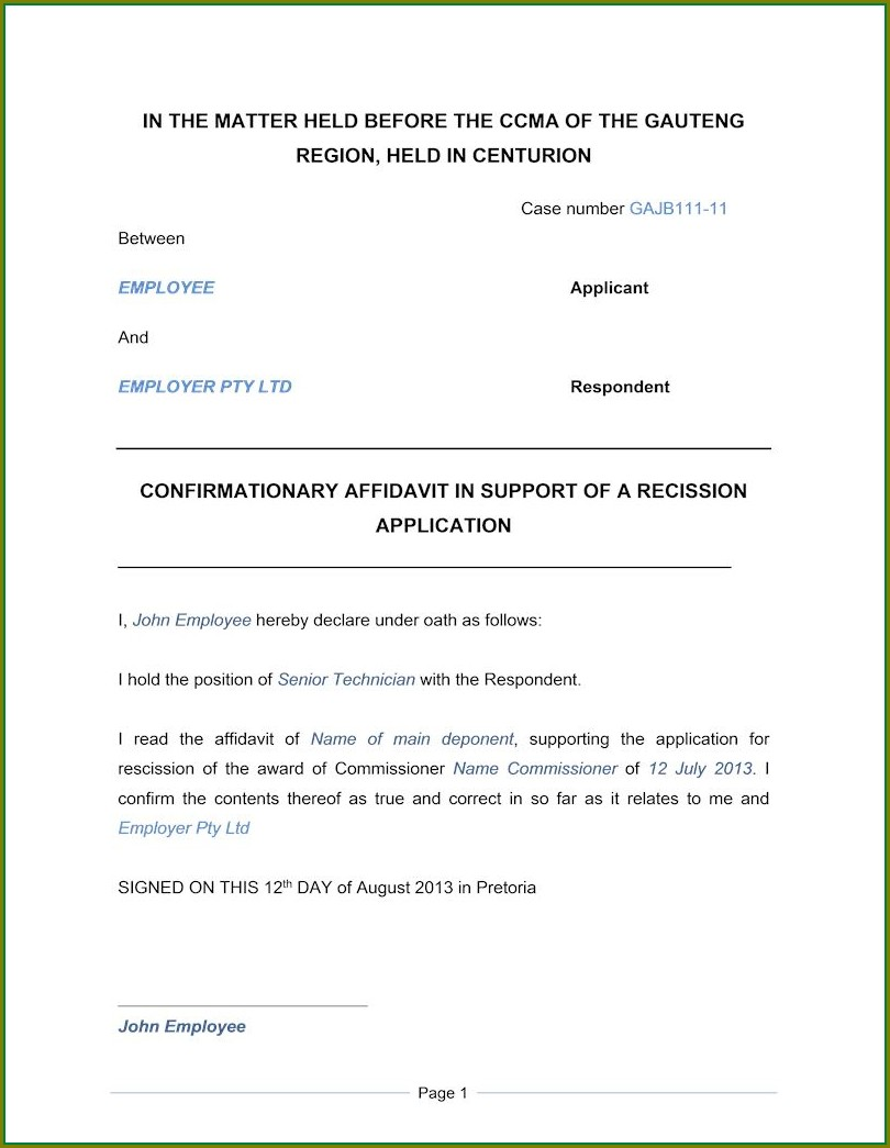 Affidavit Template South Africa Pdf