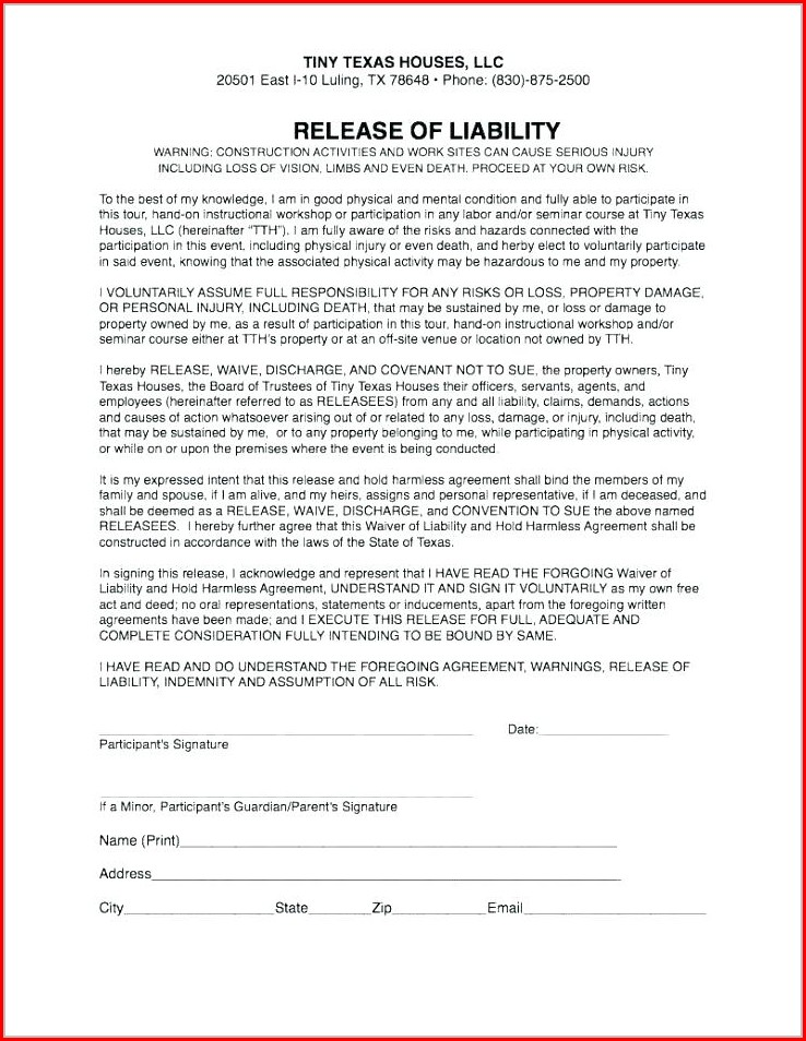Agreement Release Of Liability Waiver Template
