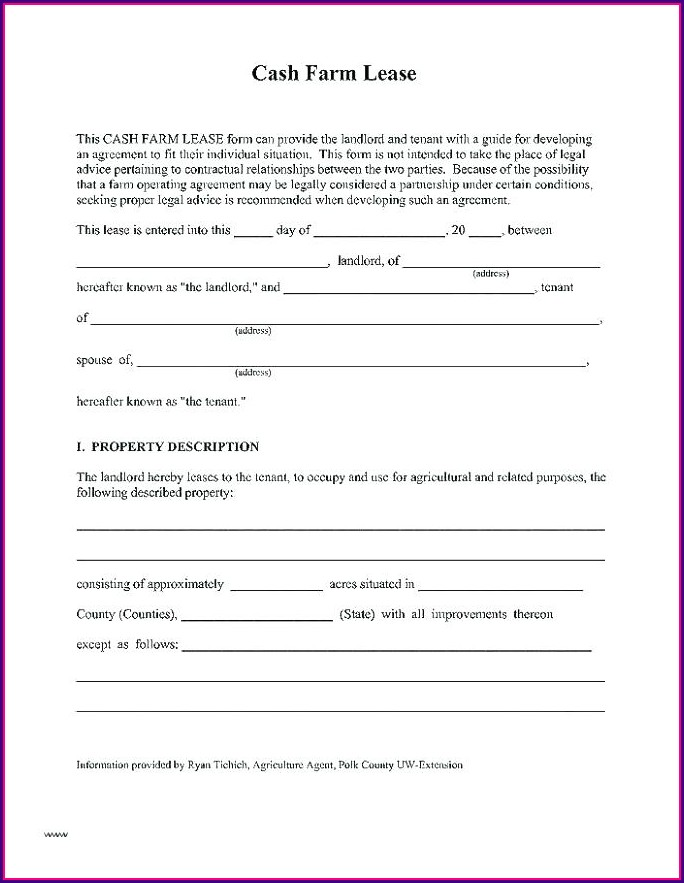 Agricultural Land Farm Lease Agreement Template