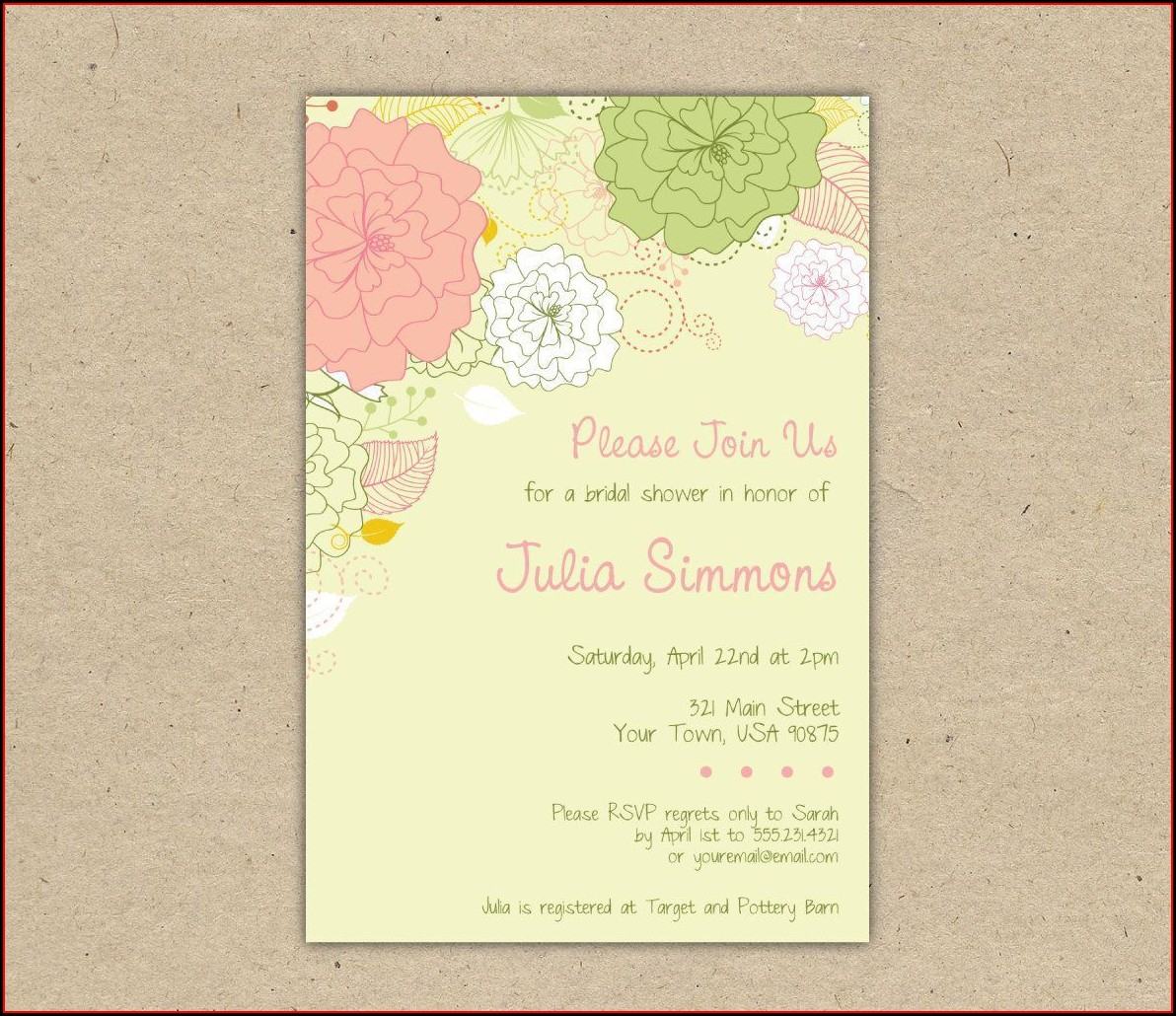 Alice In Wonderland Bridal Shower Invitation Template