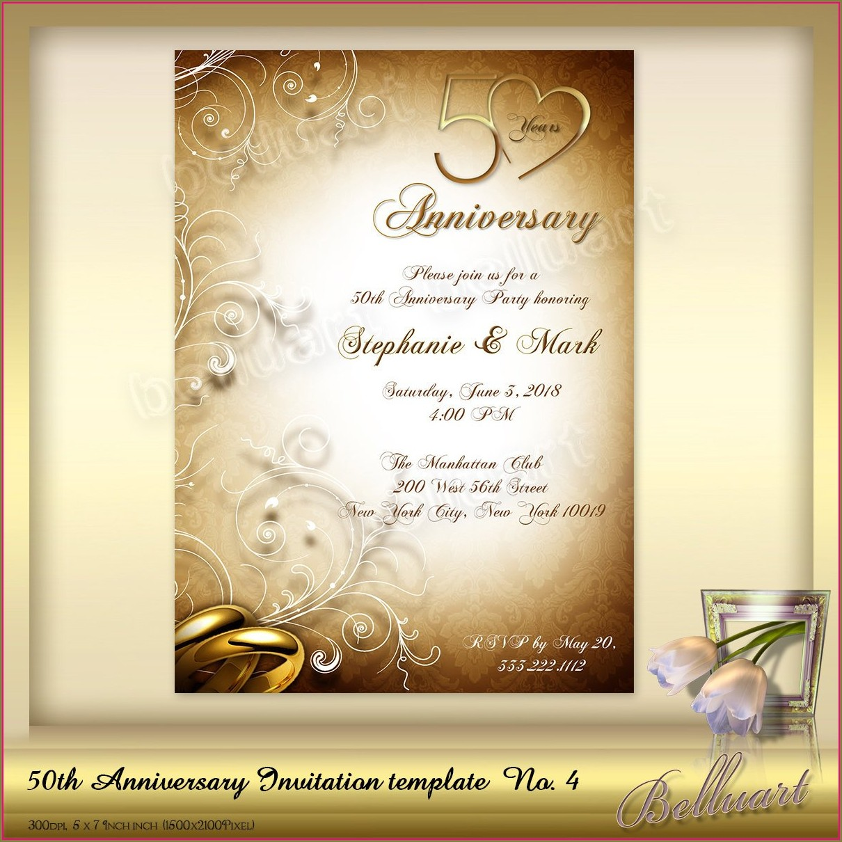 Anniversary Party 50th Wedding Anniversary Invitations Templates Free Download