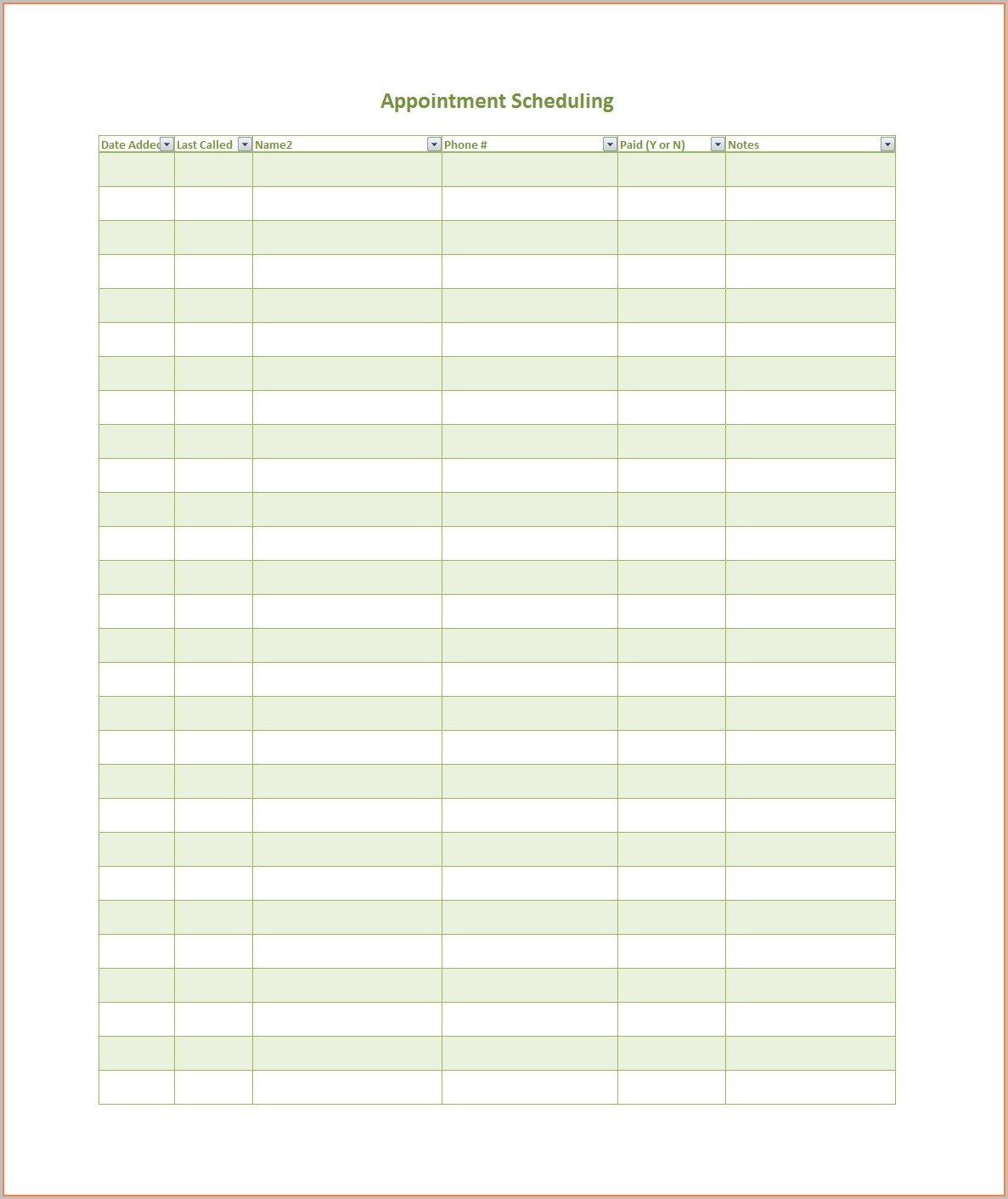 Appointment Scheduling Template Free