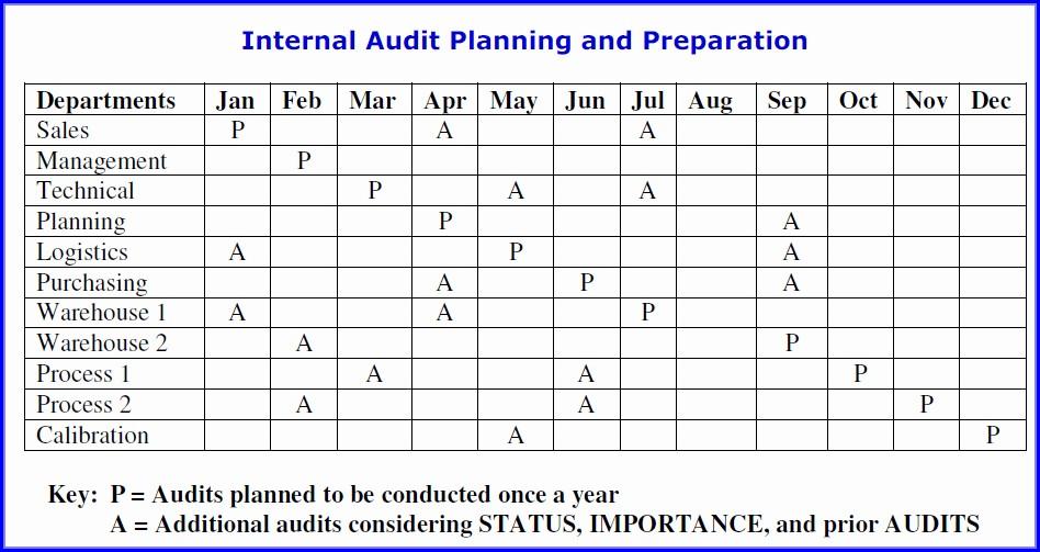 As9100 Internal Audit Schedule Template