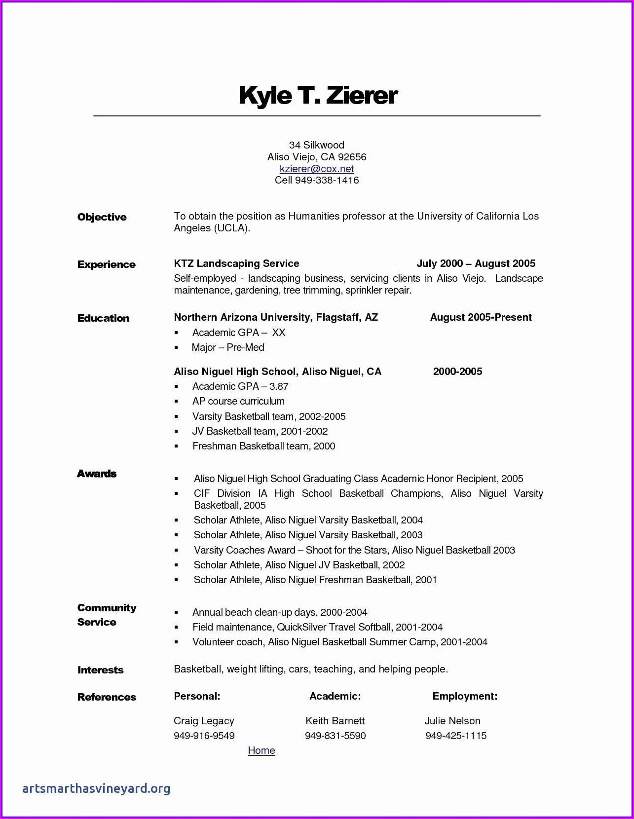Athletic Resume Template Free