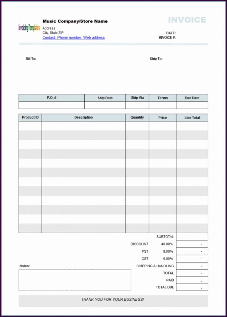 Australian Invoice Template No Gst