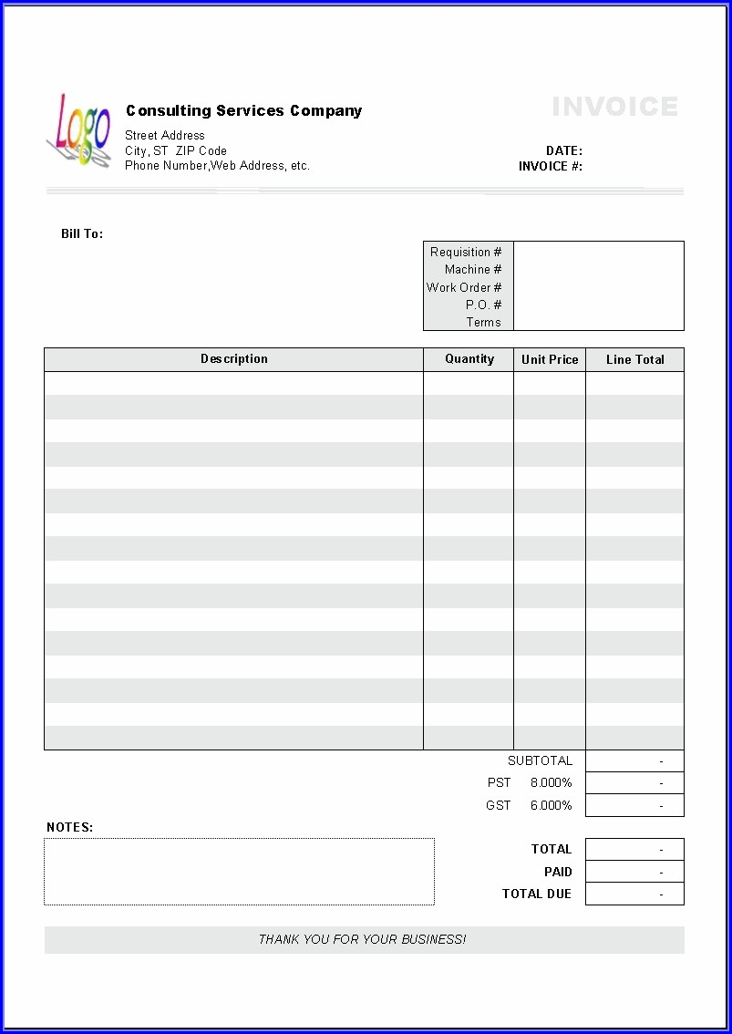 Australian Tax Invoice Template Excel