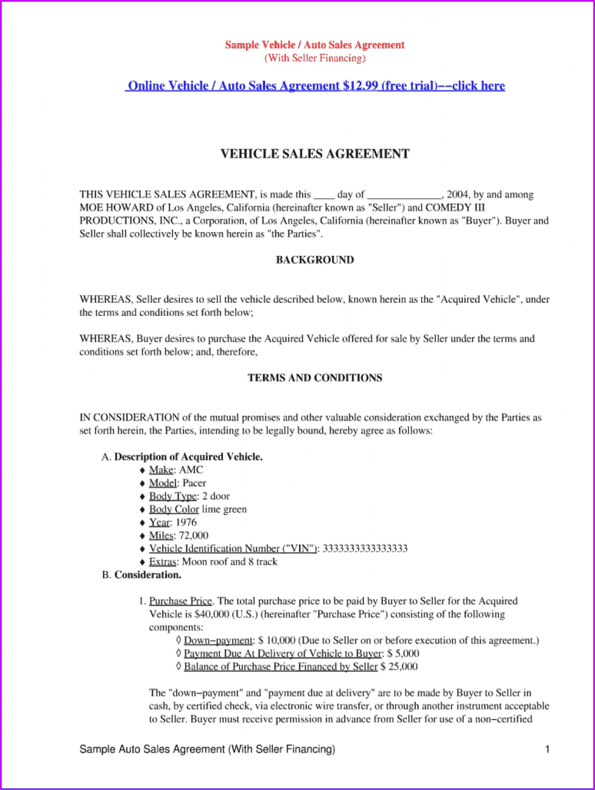 Auto Loan Car Loan Agreement Template