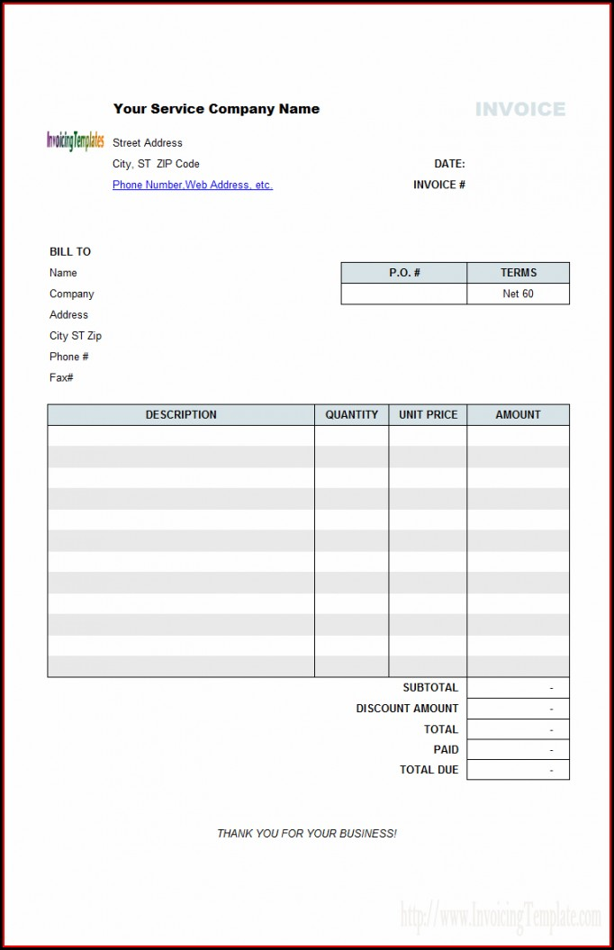 Auto Service Invoice Template Free Download
