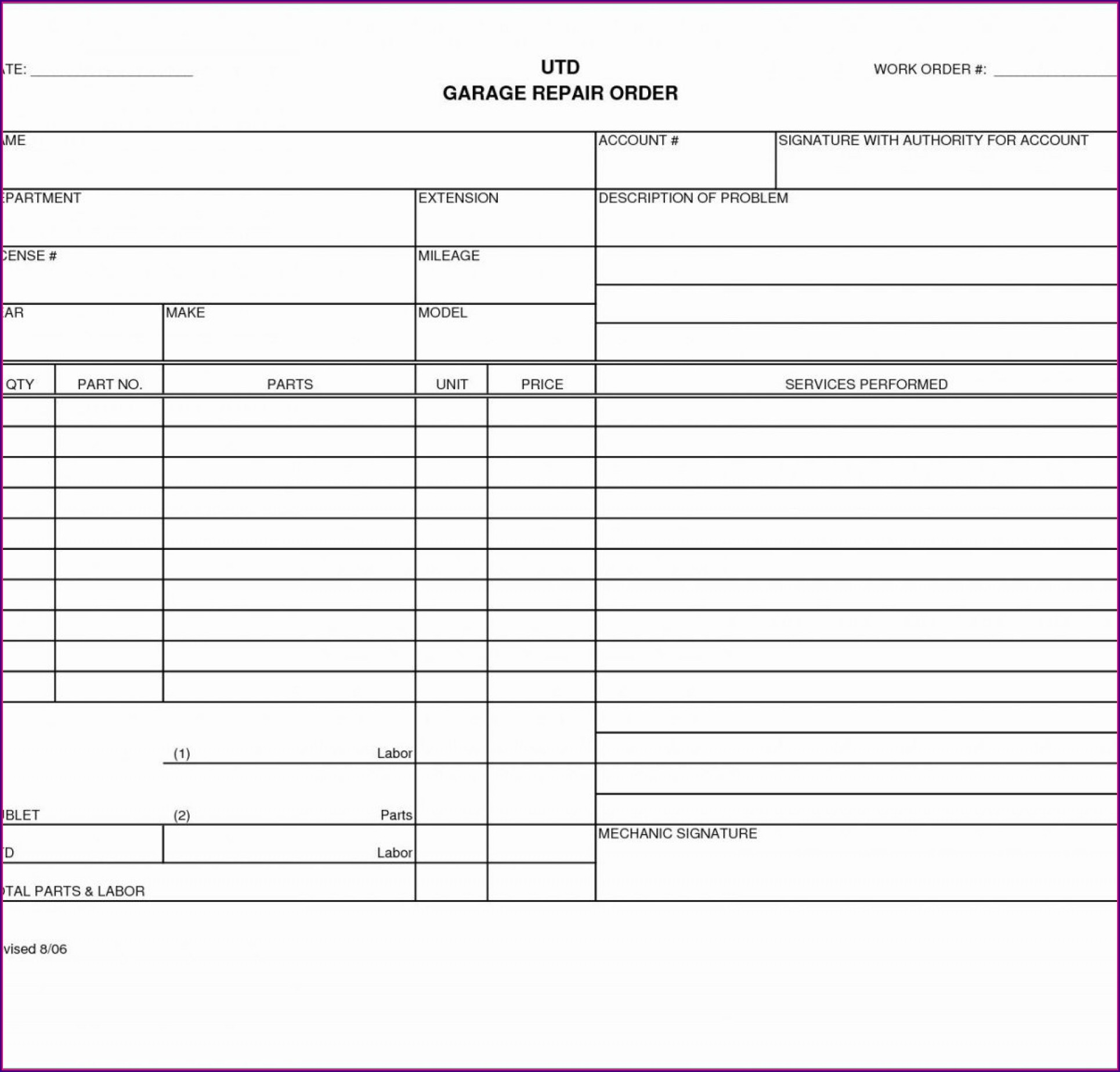 Automotive Work Order Template Excel