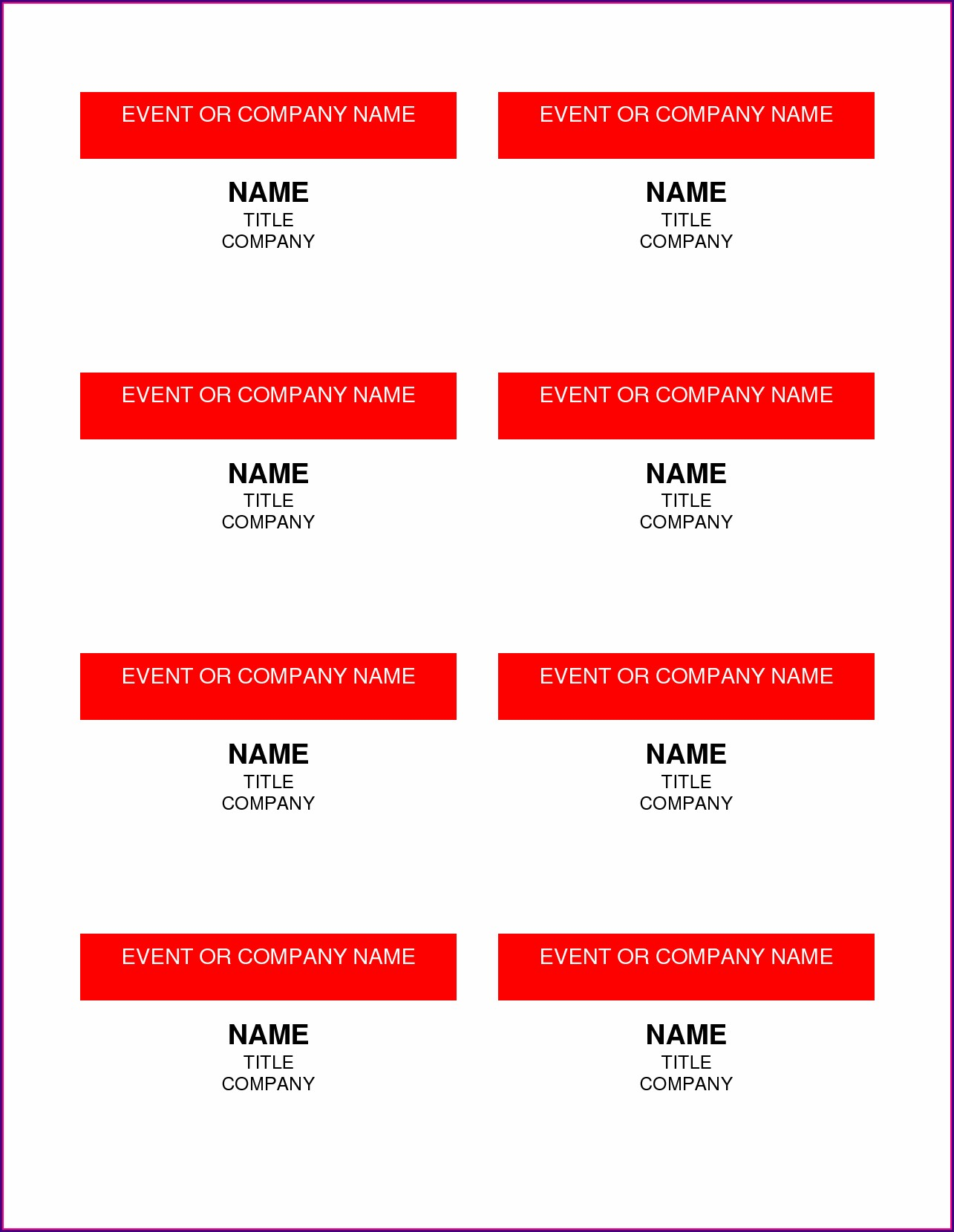Avery Name Tags Template