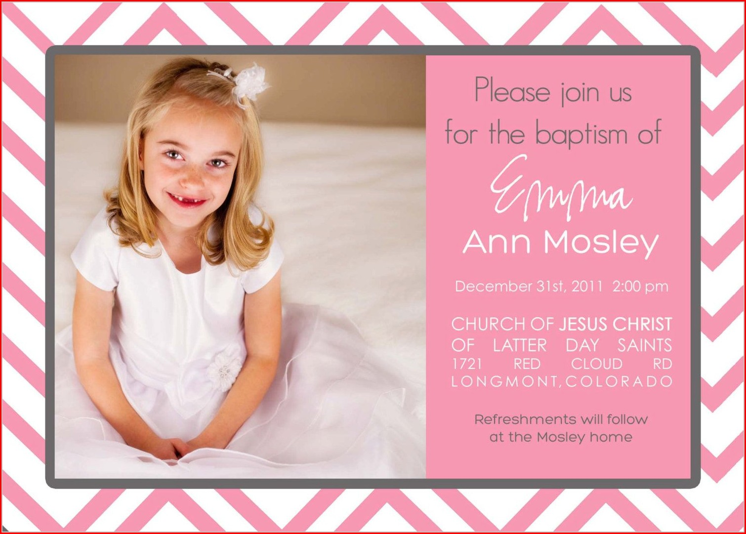 Baby Girl Dedication Invitation Template