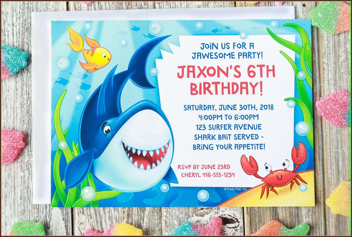 Baby Shark Birthday Invitation Template Free Download