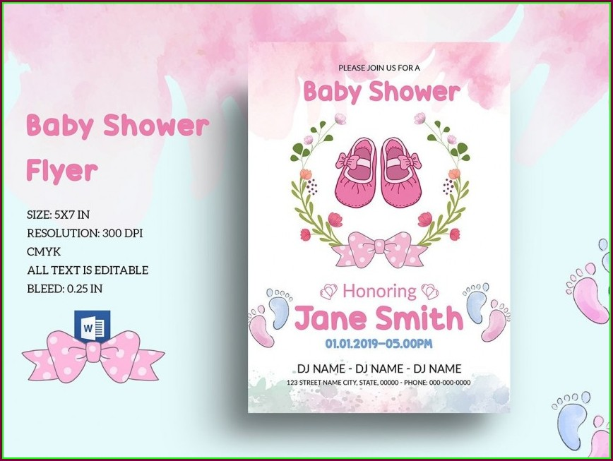 Baby Shower Invites Girl Template