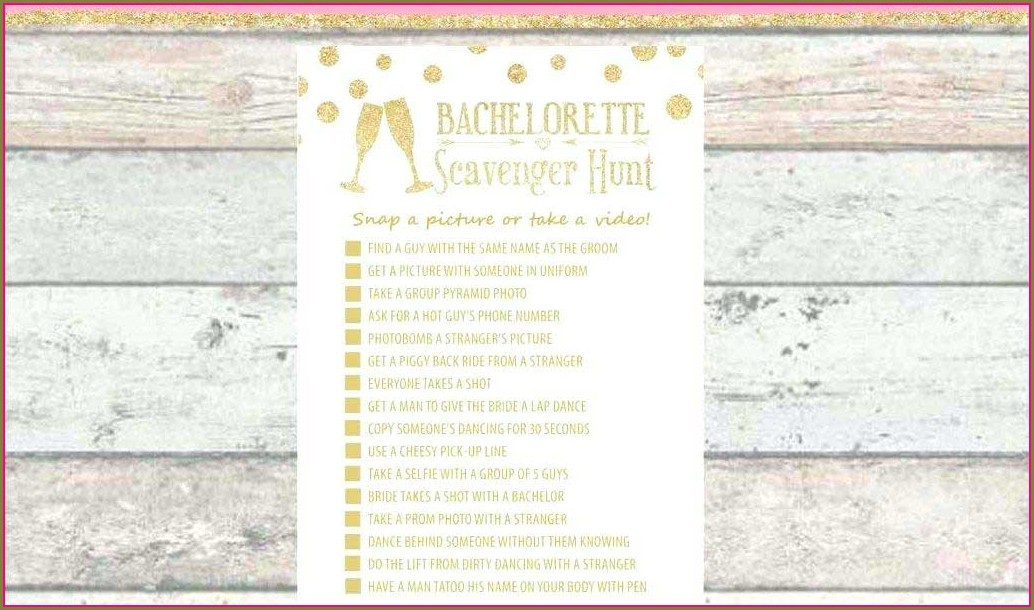 Bachelorette Party Scavenger Hunt Template