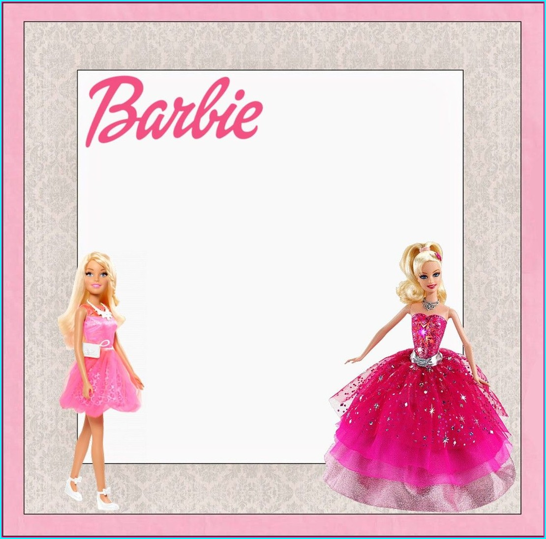 Background Barbie Invitation Template