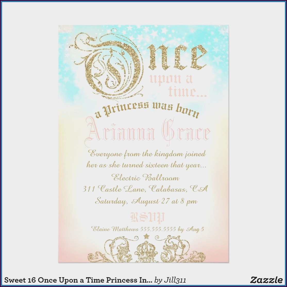 Background Princess Birthday Invitation Template