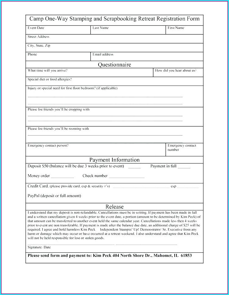 Baseball Registration Form Template Word
