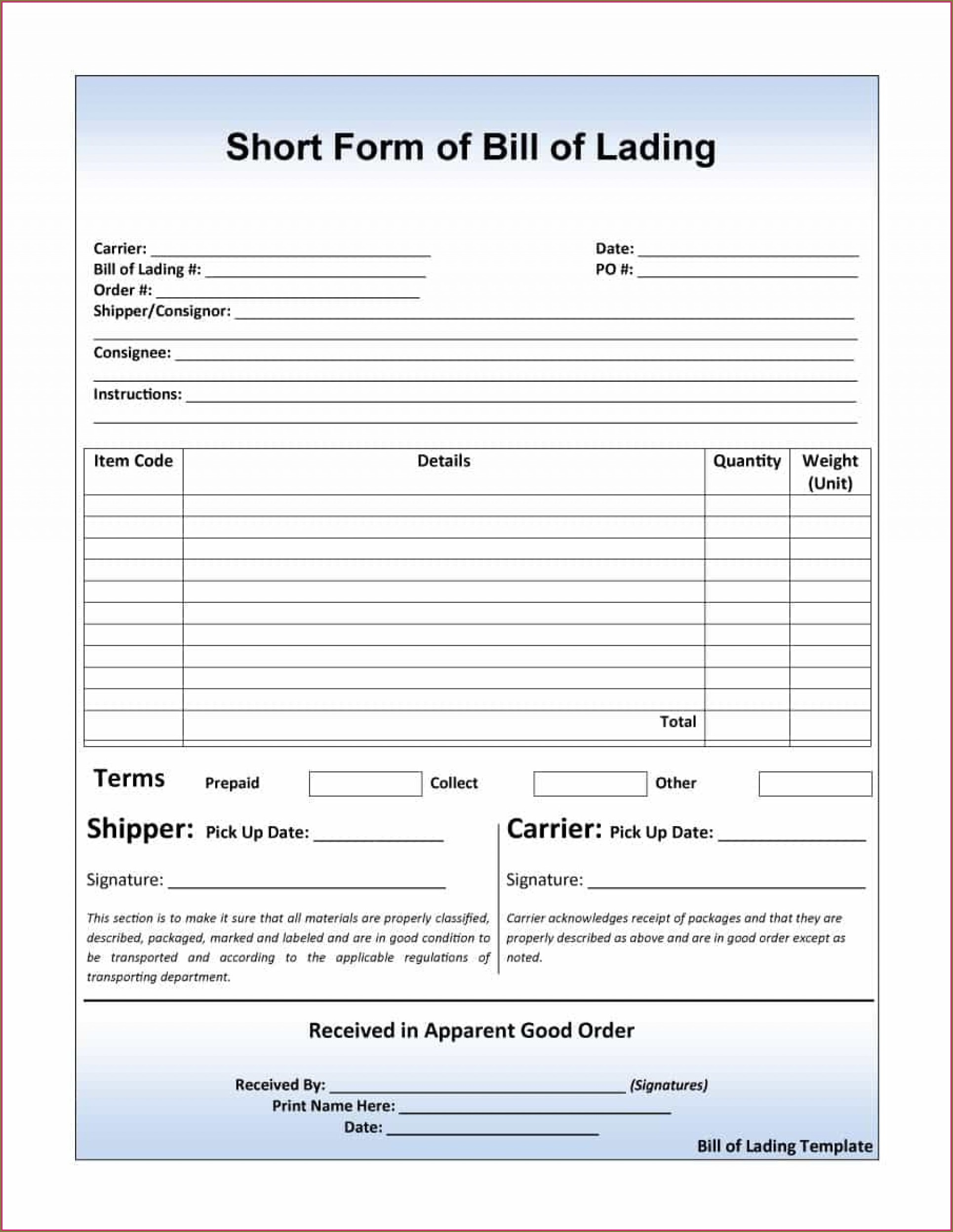Bill Of Lading Short Form Template Word