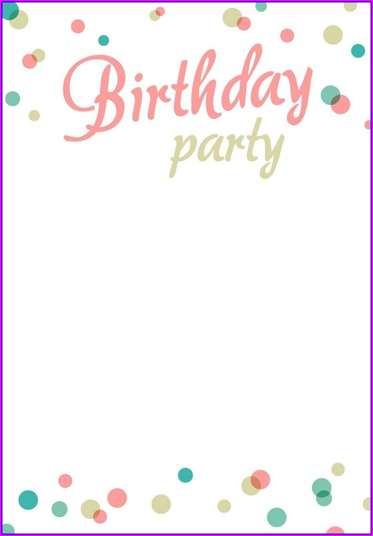 Birthday Background Editable Blank Birthday Invitation Templates