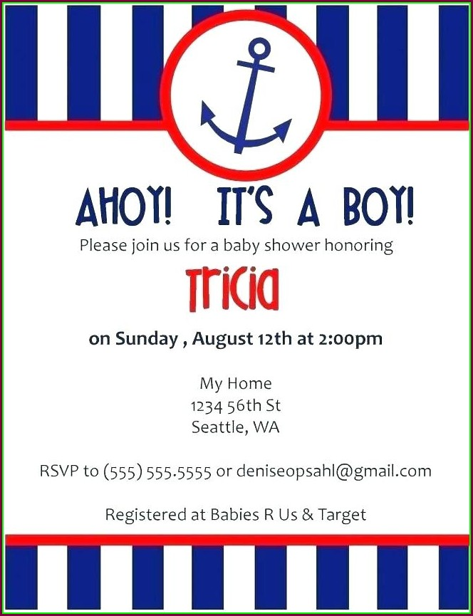 Birthday Blank Nautical Invitation Template