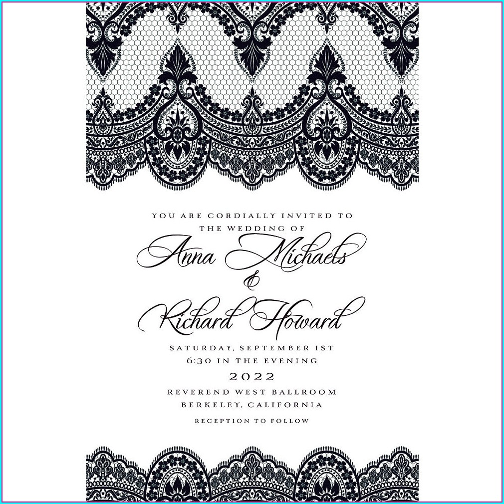 Black And White Wedding Invitations Templates