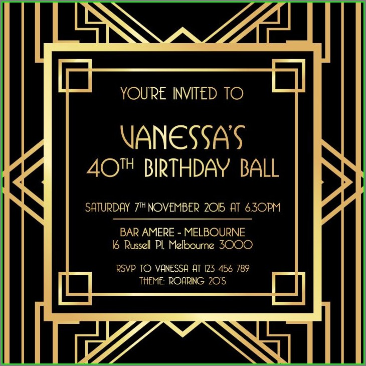 Blank 1920s Party Invitation Template Free