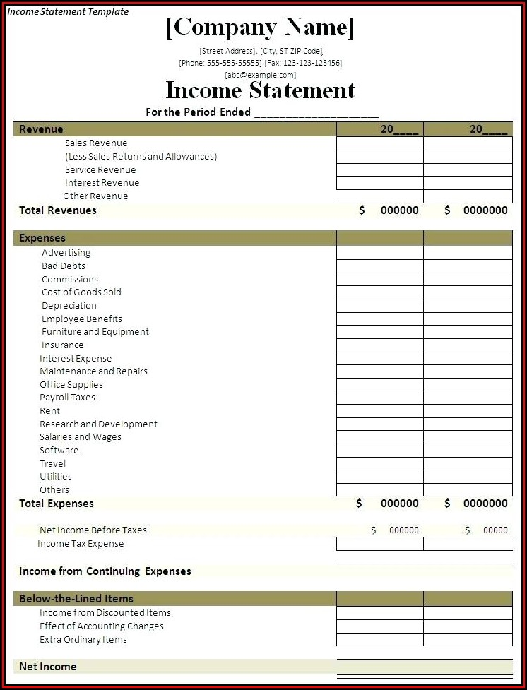Blank Accounting Income Statement Template