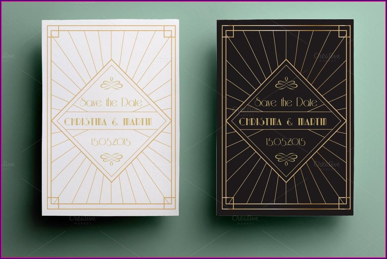 Blank Art Deco Invitation Template